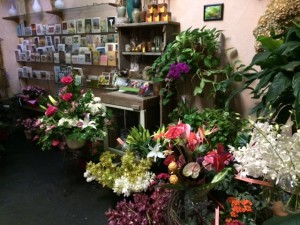 shop view with cards and arrangement